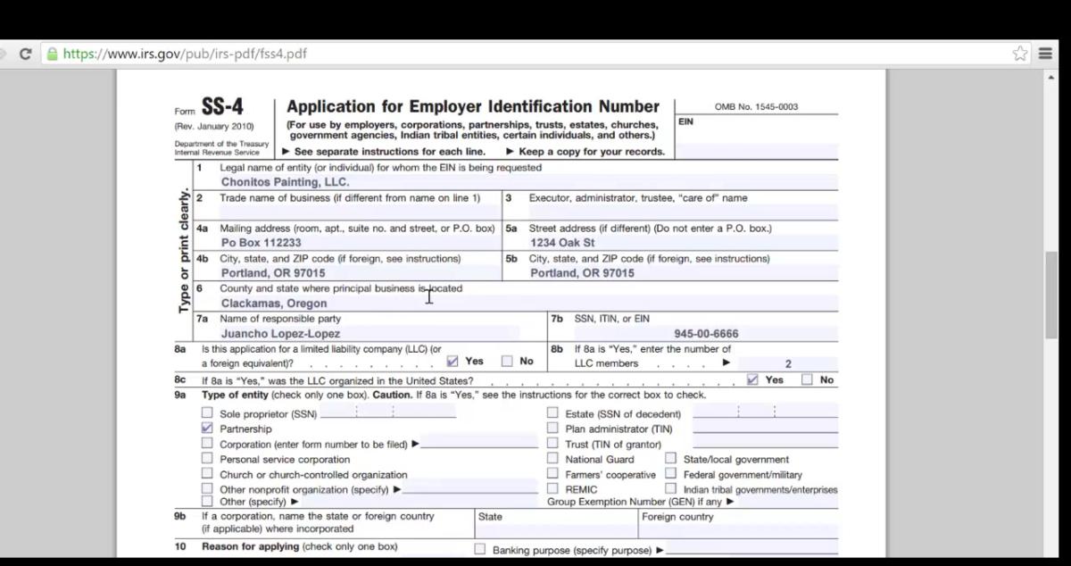 Como llenar la aplicacion del EIN y mandar por faxthumb