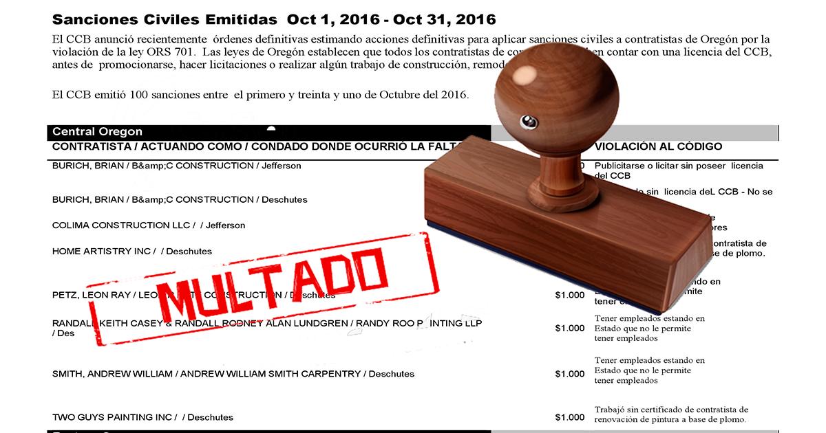 Sanciones emitidas a contratistas de construcci n octubre - Que es un contratista ...