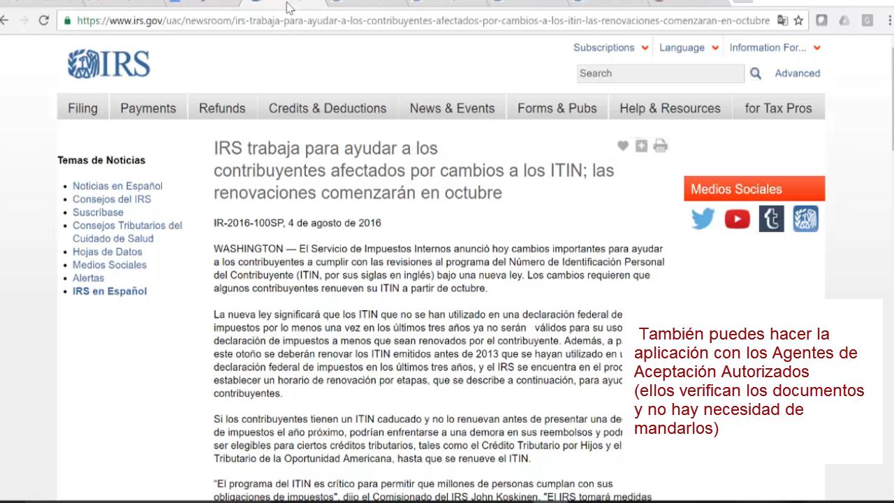 Renovación de ITINs