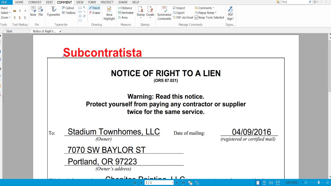 Notificación del Derecho al Lien